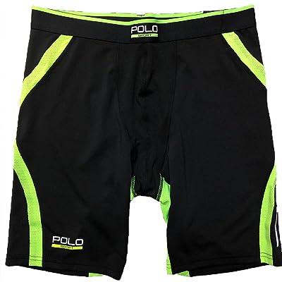 30bc6c3c61 Polo Sport Ralph Lauren Mens Dark Black & Green Stretch Compression Shorts