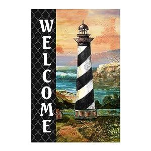 Morigins Coastal Lighthouse Welcome Summer Garden Flag Nautical Outdoor Decoration 12.5x18 inch