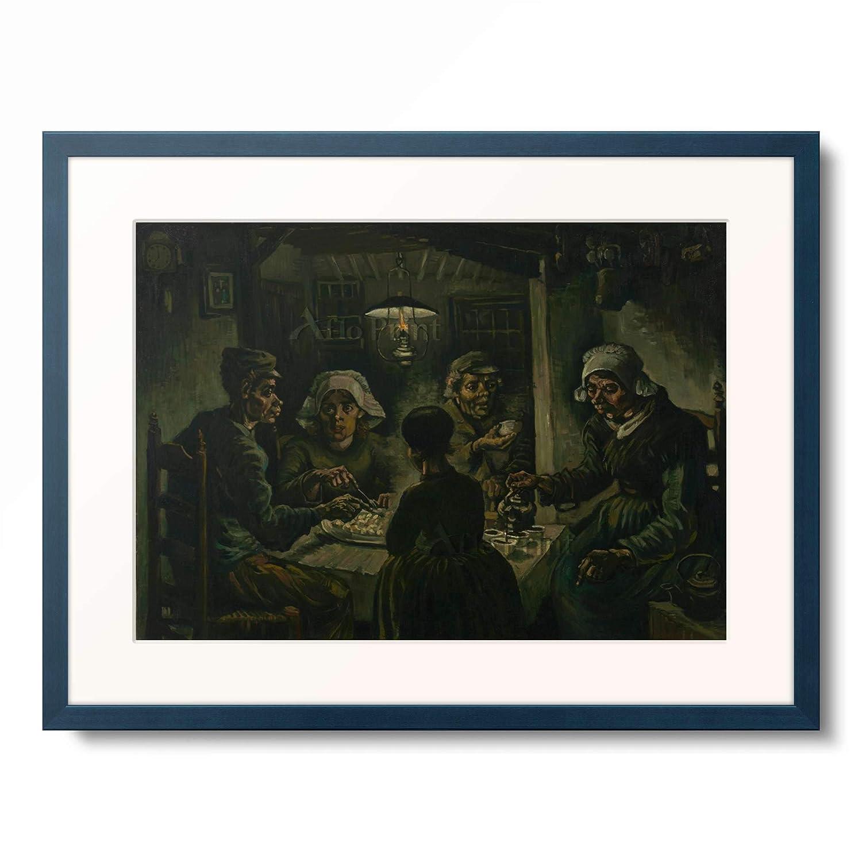 フィンセントファンゴッホ Vincent Willem van Gogh 「The Potato Eaters」 額装アート作品 B07PDCSLXB 10.木製額 13mm(青) XL(額内寸 727mm×545mm) XL(額内寸 727mm×545mm) 10.木製額 13mm(青)