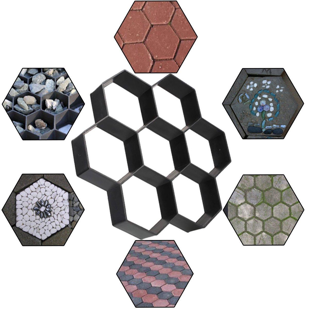 Walk Maker DIY Concrete Paver Molds Path Maker Mold, Reusable Garden Patio Walkways Hexagon Paving Stone Mold, 11.5'' x 11.5'' x 1.7'' Concrete Molds By STARVAST