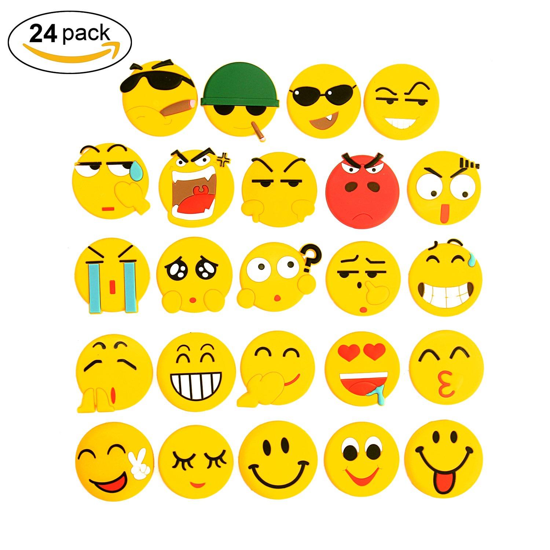 Calamite per frigorifero, magneti per il frigorifero bacheca Lanmuâ Emoji PVC smiley adesivo decorativo da cucina per lavagna bianca/armadietto per ufficio/scuola/Home Funny Gift (confezione da 24) Three Solo