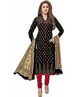 Crazy Women's Cotton Unstitched Salwar Kameez Dress Material (Black)