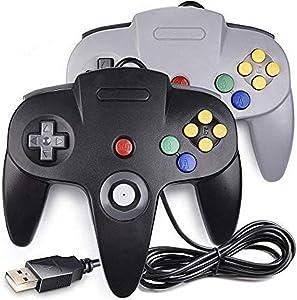 LUXMO PREMIUM N64 USB Game Controller for Classic N64 PC Gamepad Joystick Controller for N64 Windows PC Mac Linux Raspberry pi3 Genesis Higan Retro Pie (Black/Gray)