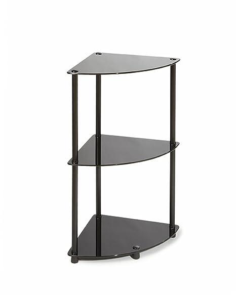 convenience concepts designs2go midnight classic 3 tier glass corner shelf black glass - Glass Corner Shelves