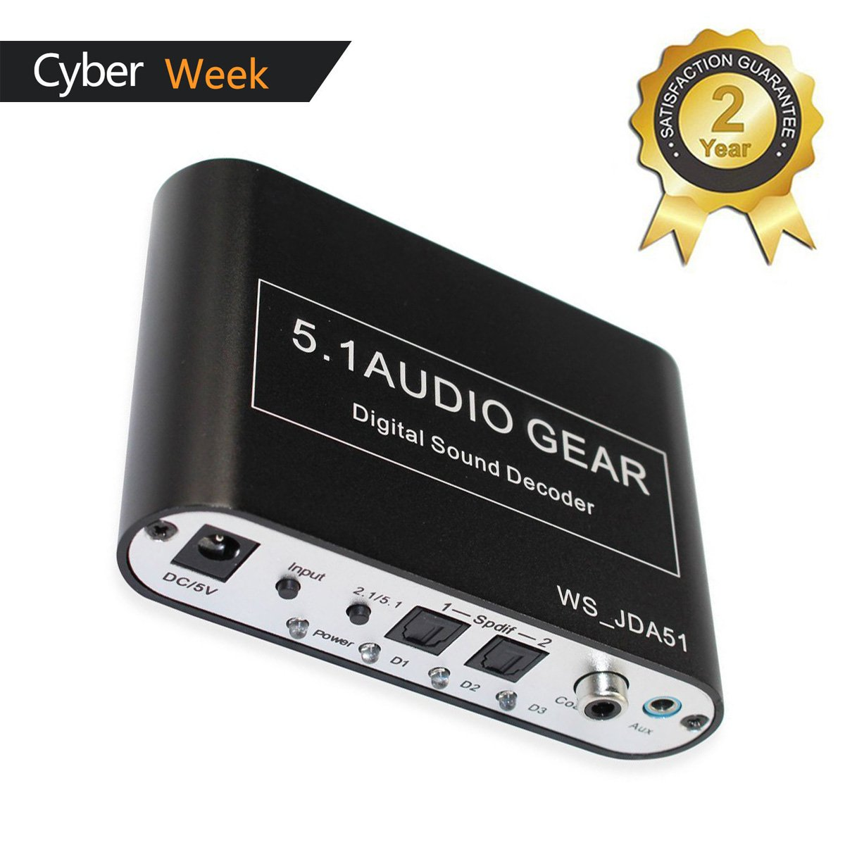 5.1 Audio Gear Digital Sound Decoder Converter - Optical SPDIF/ Coaxial AC3/DTS To 5.1Analog output - support DTS/AC-3/PCM for HD player Blu-ray DVD PS3 PS4 and Xbox 360 Xbox one
