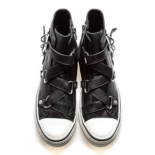 ASH Sneakers A Stivaletto con Fibbie, 36, Nero: Amazon.it