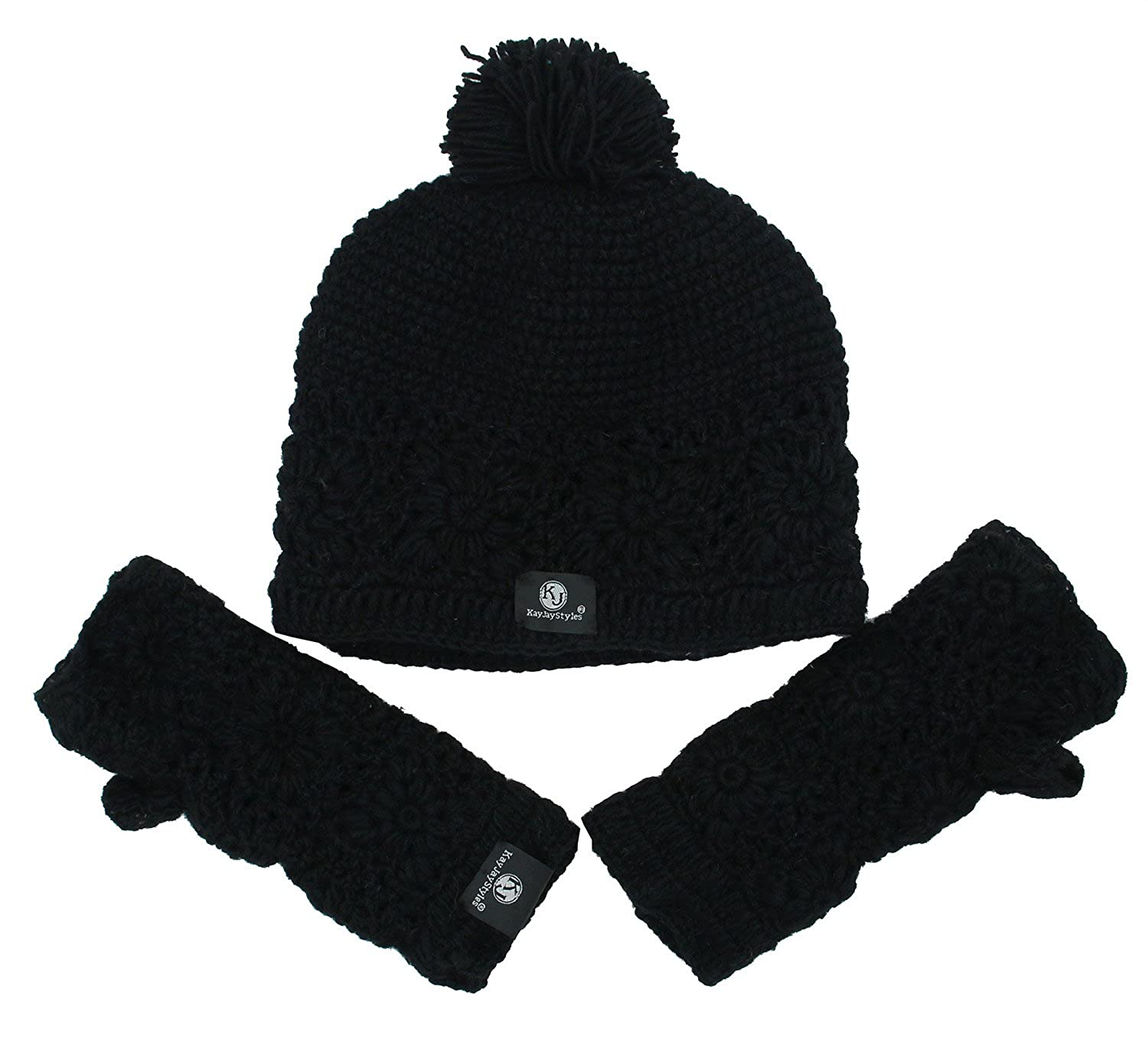 88052203ea0 KayJayStyles Nepal Hand Knit Beanie Ski Wool Hat   Glove Mitten Set (Black)  at Amazon Women s Clothing store