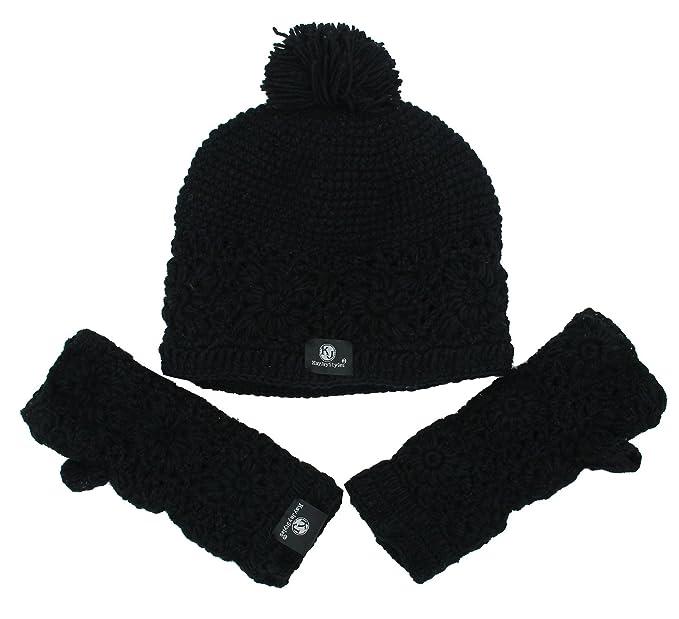 KayJayStyles Nepal Hand Knit Beanie Ski Wool Hat   Glove Mitten Set (Black) a6f583589606