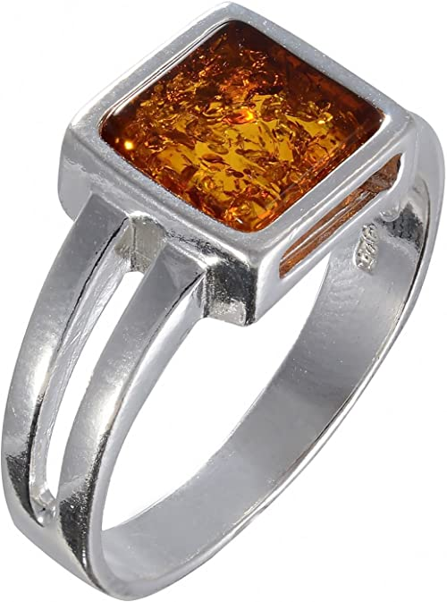 BALTIC GREEN or HONEY SQUARE AMBER /& STERLING SILVER SOLITAIRE RING