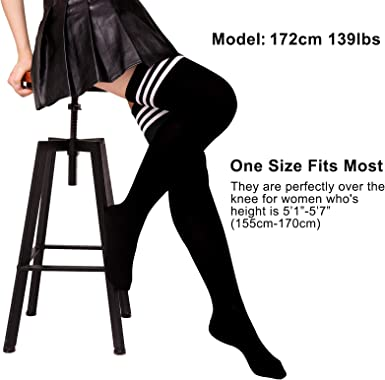 VWMYQ Womens Thigh High Socks 2//4 Pack Striped Over Knee High Stockings Leg Warmers for Daily Wear Cosplay