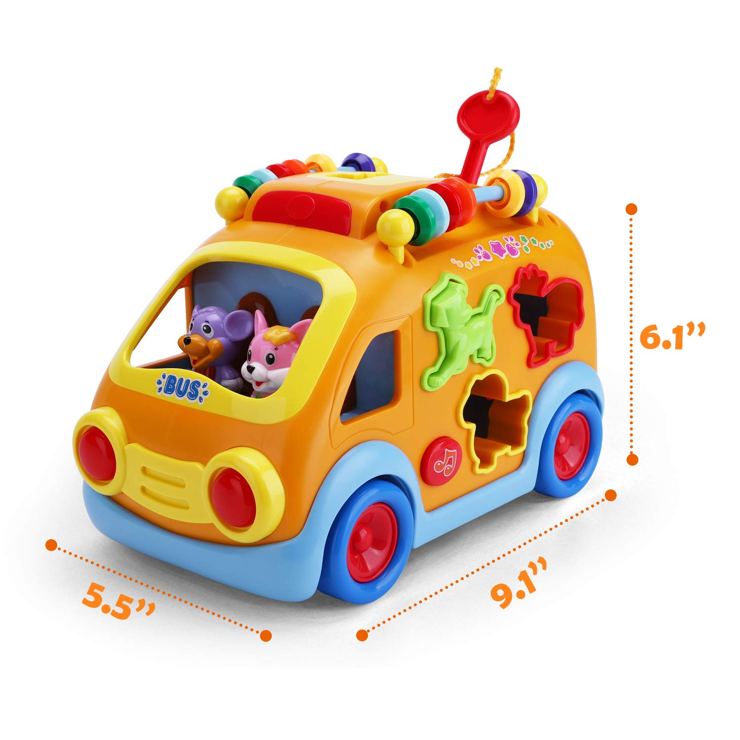 iPlay, iLearn Electronic Musical Bus, Baby Sensory Toy, 3D Animal Matching Car w/ Gear, Early Development, Learning, Educational Gift for 1, 2 Year Olds Girls Boys Toddlers Kids by iPlay, iLearn (Image #7)