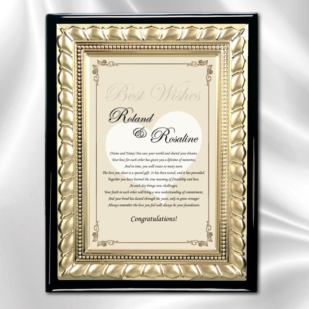 Amazon Wedding Personalized Gift Wishes Words Poem Plaque Congratulation Iron Easel Wedding Present Ideas for Bride Groom Poetry Gold Designer Element