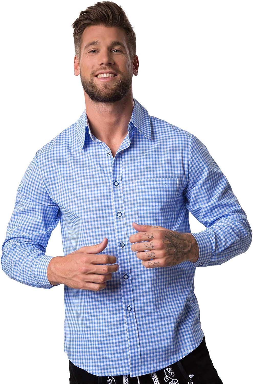 dressforfun 950004 Traje Regional Alemán para Hombre, Conjunto Tres Piezas, Pantalón Negro con Tirantes, Camisa Blanca Azul & Calcetines (Pantalón L | ...