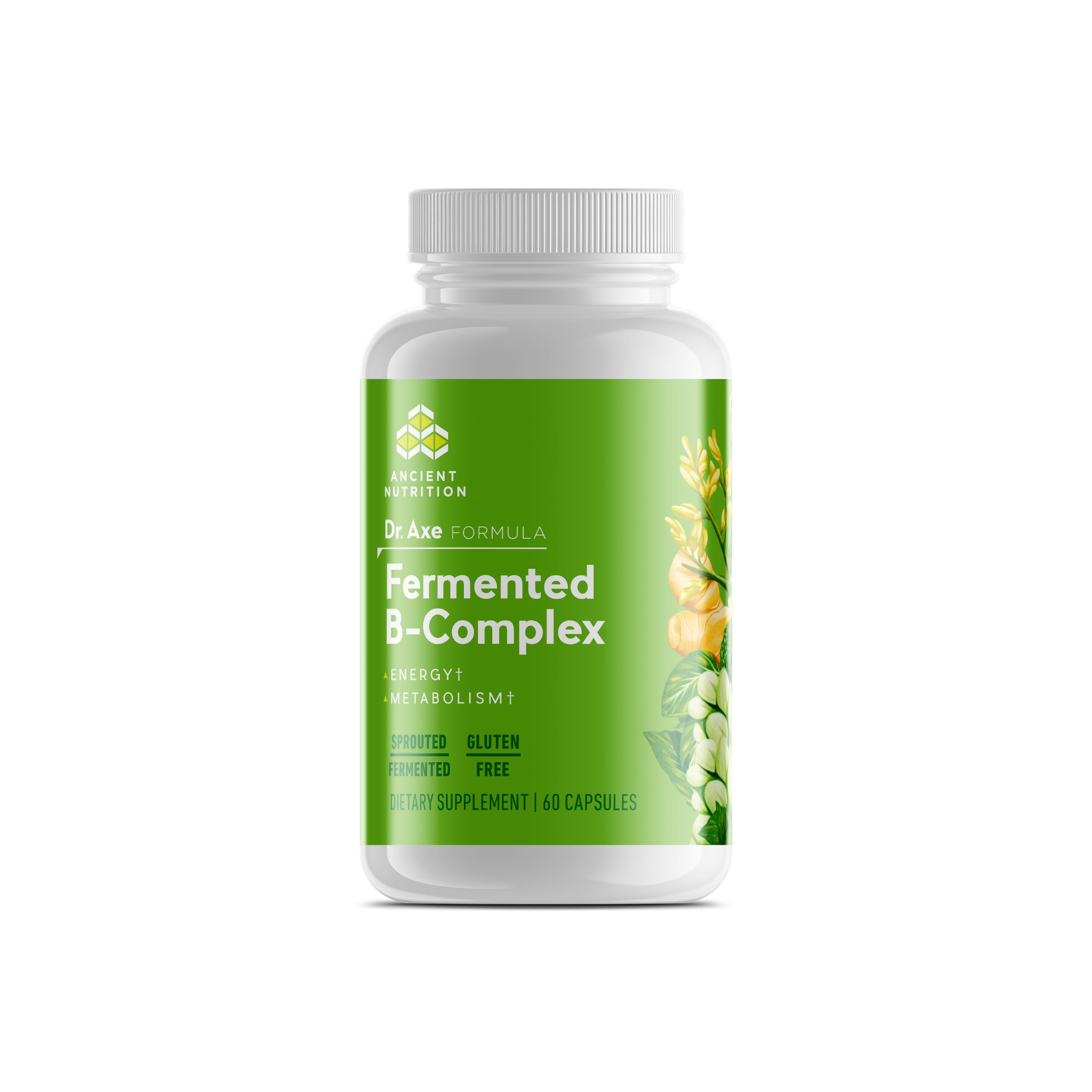 Ancient Nutrition Fermented B-Complex, 60 Capsules - A Blend of Fermented Botanicals and Algae - Dr. Axe Formula