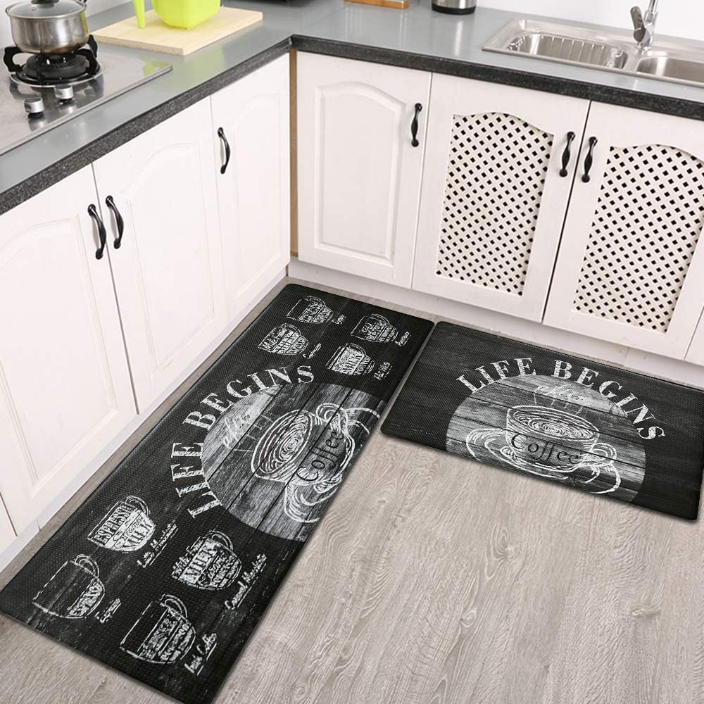 Anti Fatigue Kitchen Rug and Mats Cappuccino Black HiiARug Heavy Duty Standing Mats Waterproof Oil Proof Kitchen Rug Set Ergonomic PVC 2-Pack 18x30+18x48 Kitchen Runner and Rug