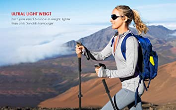 ieGeek Trekking Poles – Collapsible Hiking Walking Sticks for Men and Women – Strong, Lightweight, Flip Locks, Cork Grip, Adjustable Hiking Poles with All Terrain Accessories and Carry Bag, 2 Pack