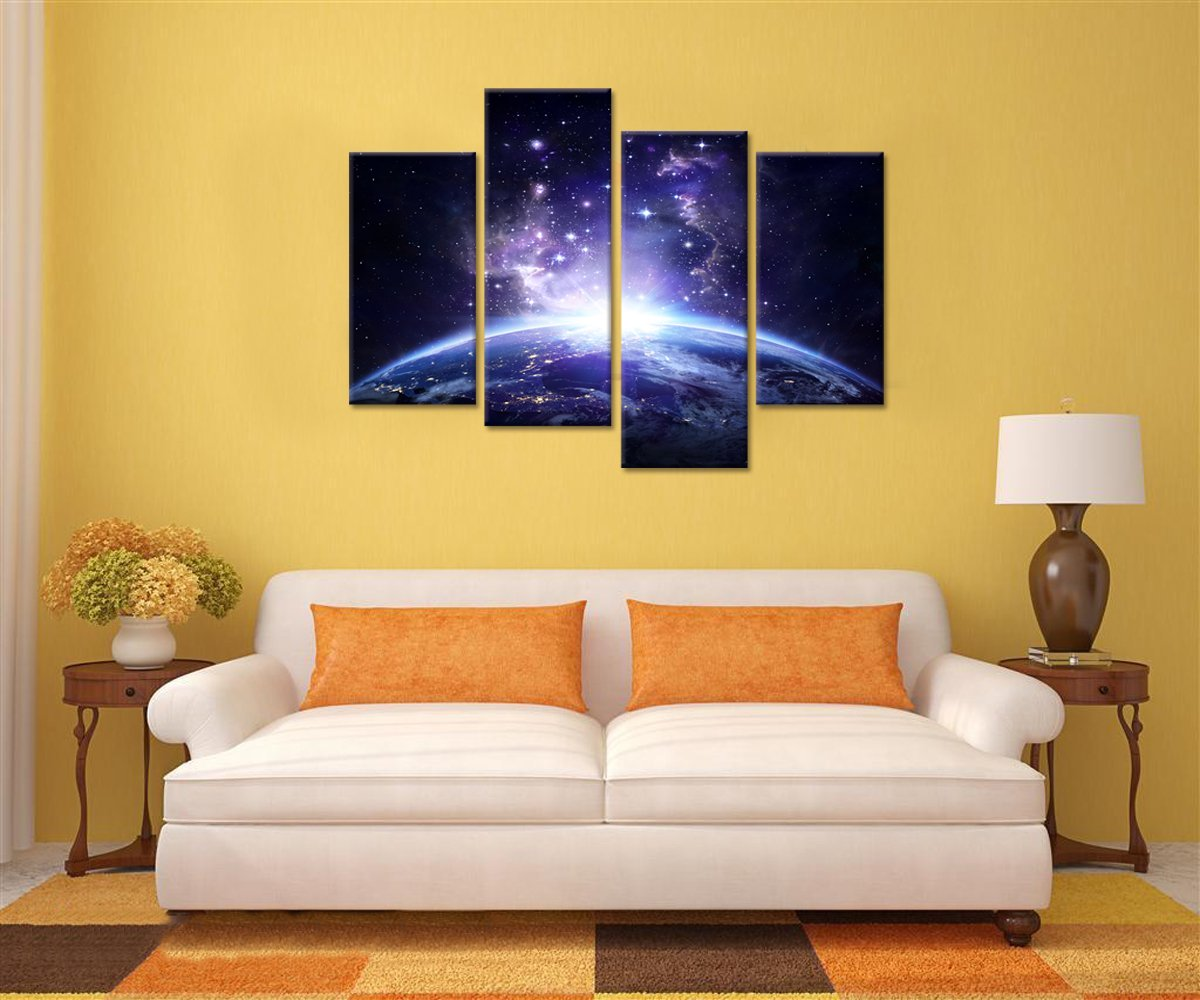 Amazon.com: Starry Night Canvas Wall Art Universe Prints for Living ...