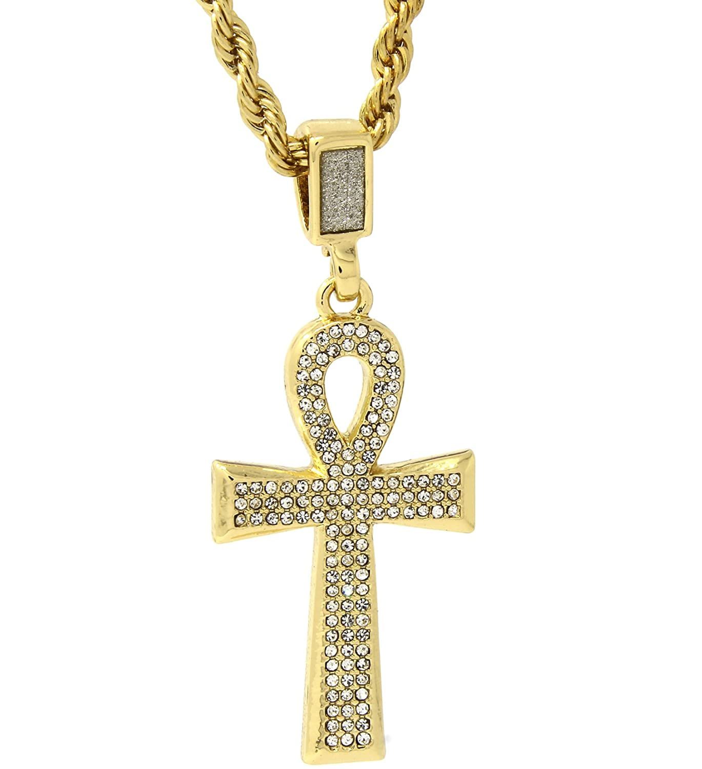 Men Women 18K Yellow Gold Plated Stainless Steel Round Cz Ankh Cross Pendant
