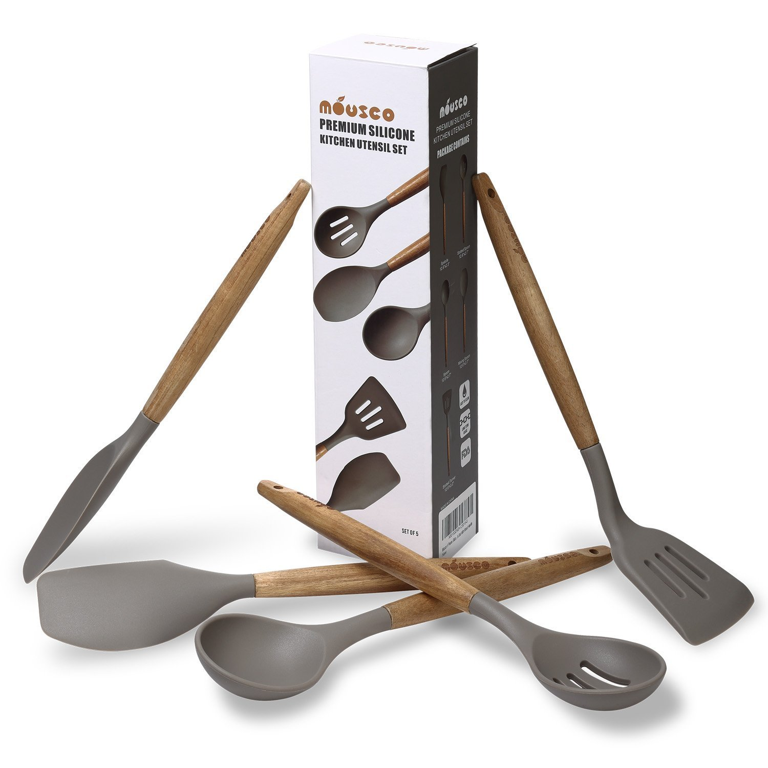 5 Piece Silicone Cooking Utensil Set with Natural Acacia Hard Wood Handle - Grey UK Plaque