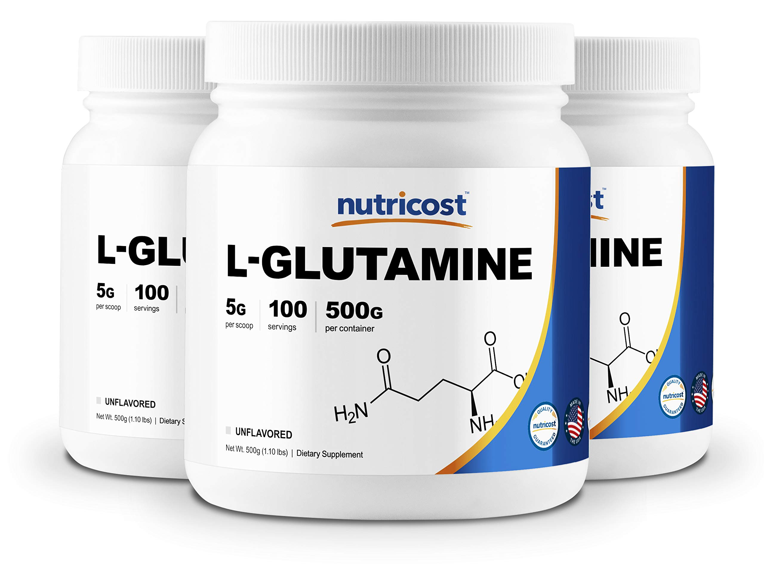 Nutricost L-Glutamine Powder 500G (3 Pack) - Pure L Glutamine - 5000mg Per Serving - 1.1 Pounds & 100 Servings Each - Highest Purity by Nutricost