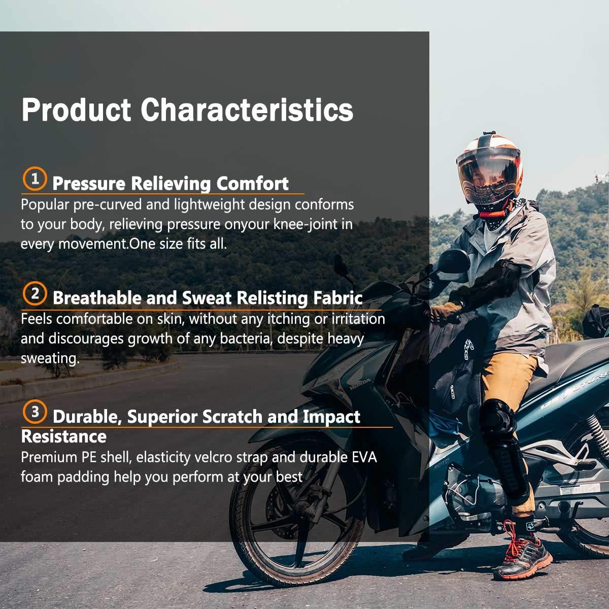 Genouill/ère Coude Moto Protection 4 Pi/èces Motocross Genoux Tibia Prot/ège /Équipement Genouill/ères Garde Protecteur pour Moto Moteur Cyclisme Rouleau Patin Adulte Homme ou Femme