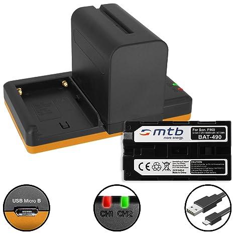 2X Batería (6600mAh) + Cargador Doble (USB) NP-F960, F970 ...