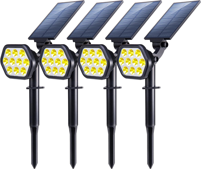 Nekteck Solar Lights Outdoor,10 LED Landscape Spotlights Solar Powered Wall Lights 2-in-1 Wireless Adjustable Security Decoration Lighting for Yard Garden Walkway Porch Pool Driveway