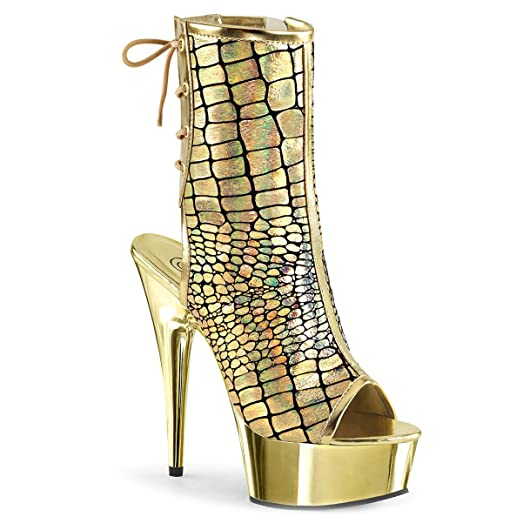 Womens Gold Ankle Boots Hologram Ostrich Print Open Toe Shoes Platforms 6 Inch