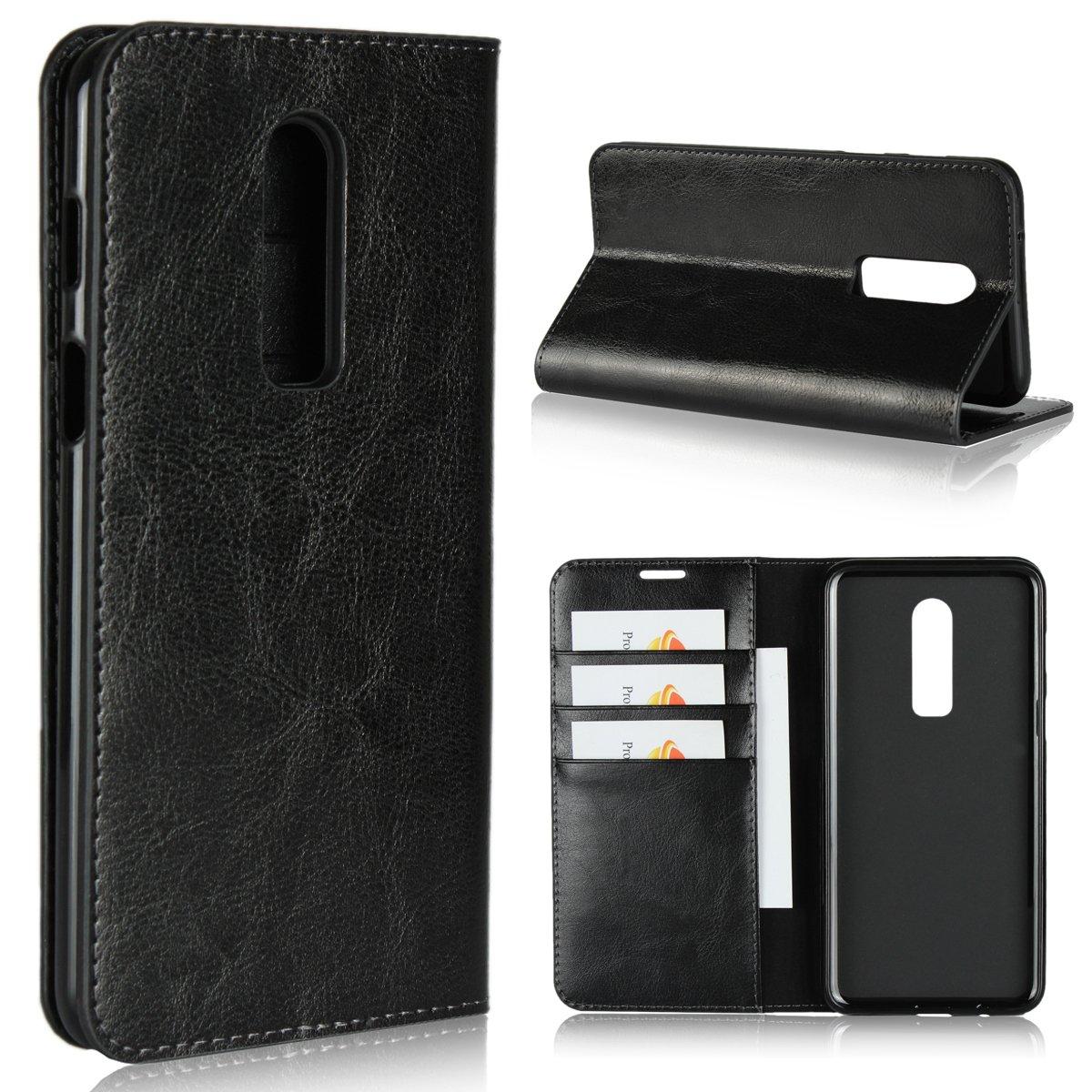 OnePlus 6/1 + 6ケース、iCoverCase本革製ウォレットケース[スリムフィット]フォリオブックデザインスタンド&カードスロット付きOnePlus 6/1 + 6 6.28インチ用フリップケースカバー(ブラック)   B07HQBNRL8