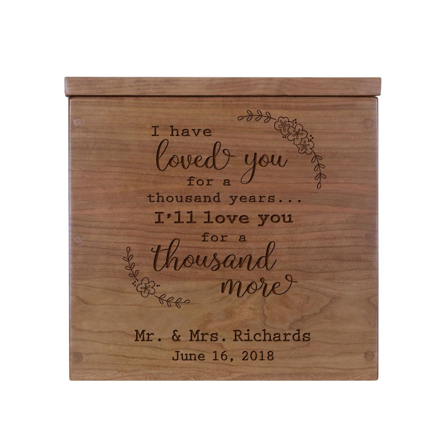 "LifeSong Milestones Personalized I Have Loved You Rustic Wooden Wedding Card Box Custom Card Holder with Lift Top for NewlyWeds Couples Reception 11.5"" L x 12.25"" W (Cherry)"
