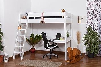 Lit mezzanine patrick hêtre massif laqué en blanc avec bureau