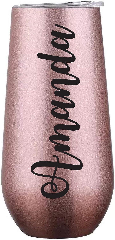 Vaso personalizable de 6 onzas, botella de agua de acero inoxidable de oro rosa con tapa, tu nombre aislado al vacío taza para dama de honor, caja de regalo