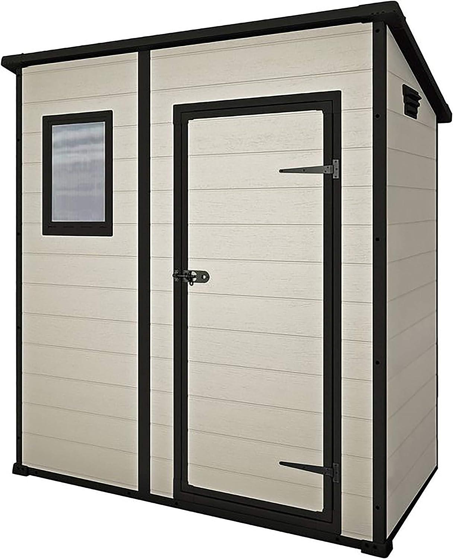 Keter Manor Pent Outdoor Plastic Garden Storage Shed Beige Brown 6 X 4 Ft Amazon Co Uk Garden Outdoors