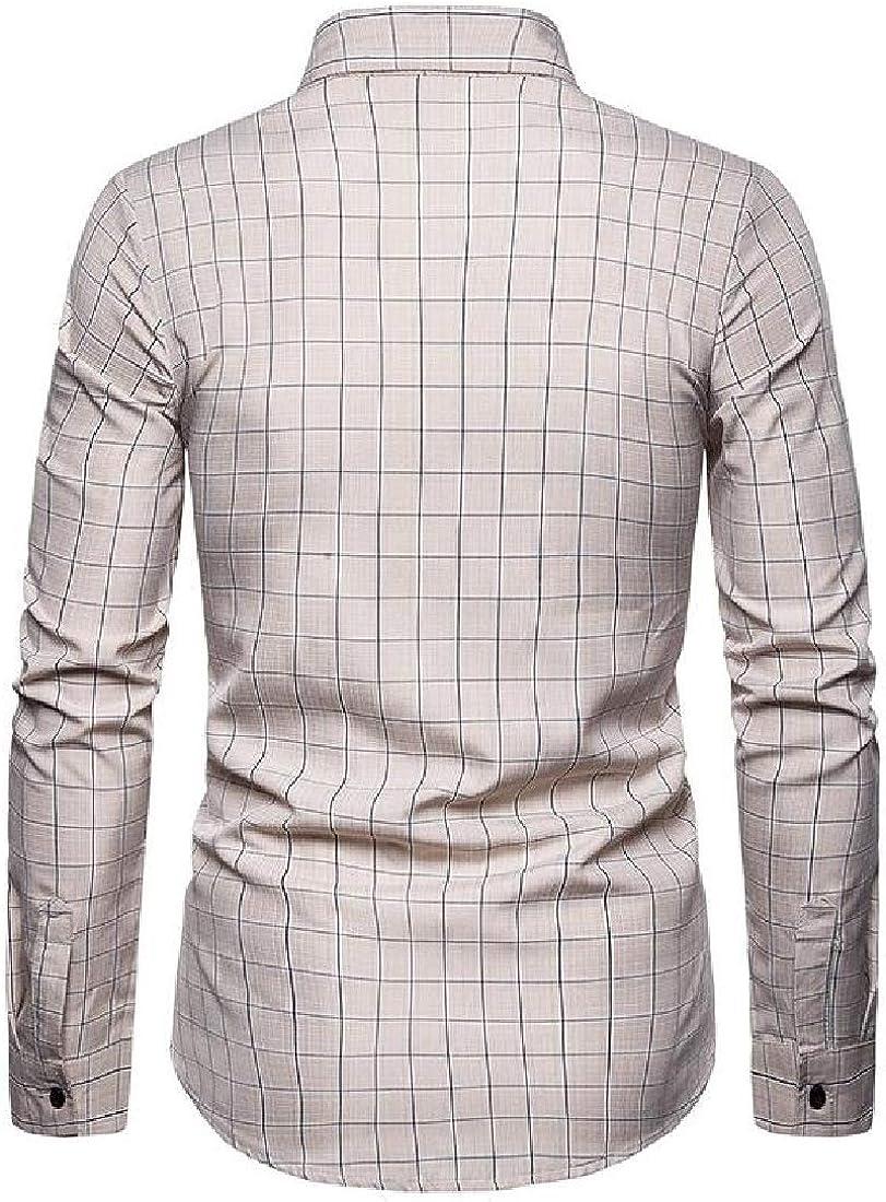 YYG Mens Casual Business Shirt Plaid Long Sleeve Slim Button Up Flannel Checkered Shirt
