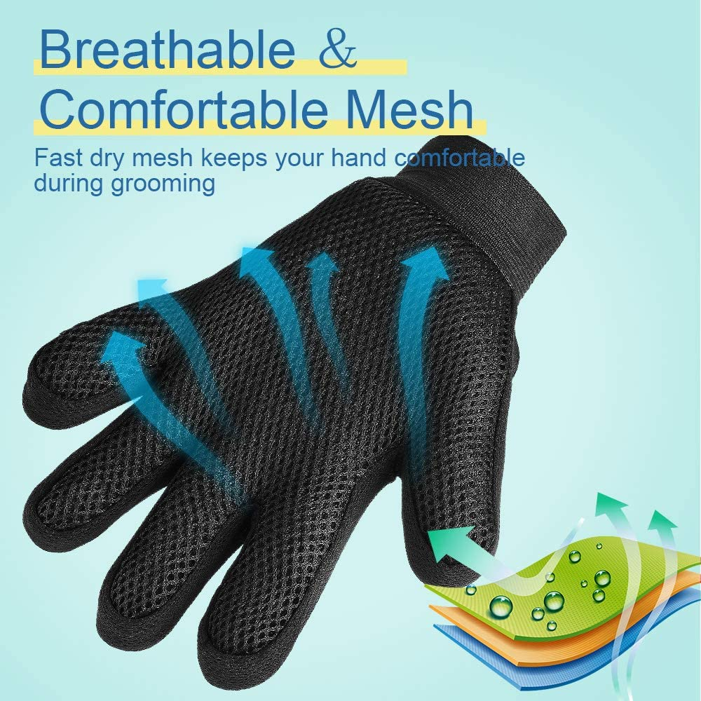 YWD Pet Grooming Glove Hair Remover Brush Hair Removal Gloves-Efficient Pet Hair Removal Set-Easily Groom Long Hair and Short Hair of Cats and Dogs-1 Pair 1 Pair(Green)