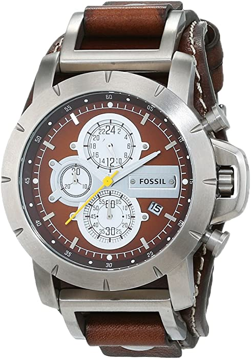 Fossil Mens JR1157 Brown Leather Strap Brown Analog Dial Chronograph Watch