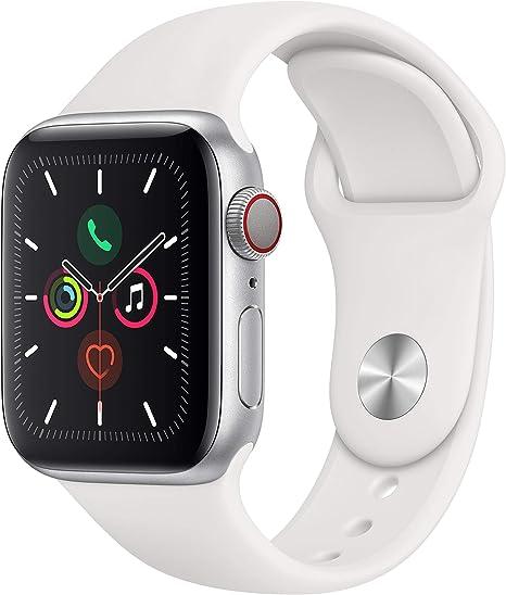 Apple Watch Series 5 (GPS + Cellular, 40 mm) Aluminio en Plata - Correa Deportiva Blanco: Amazon.es