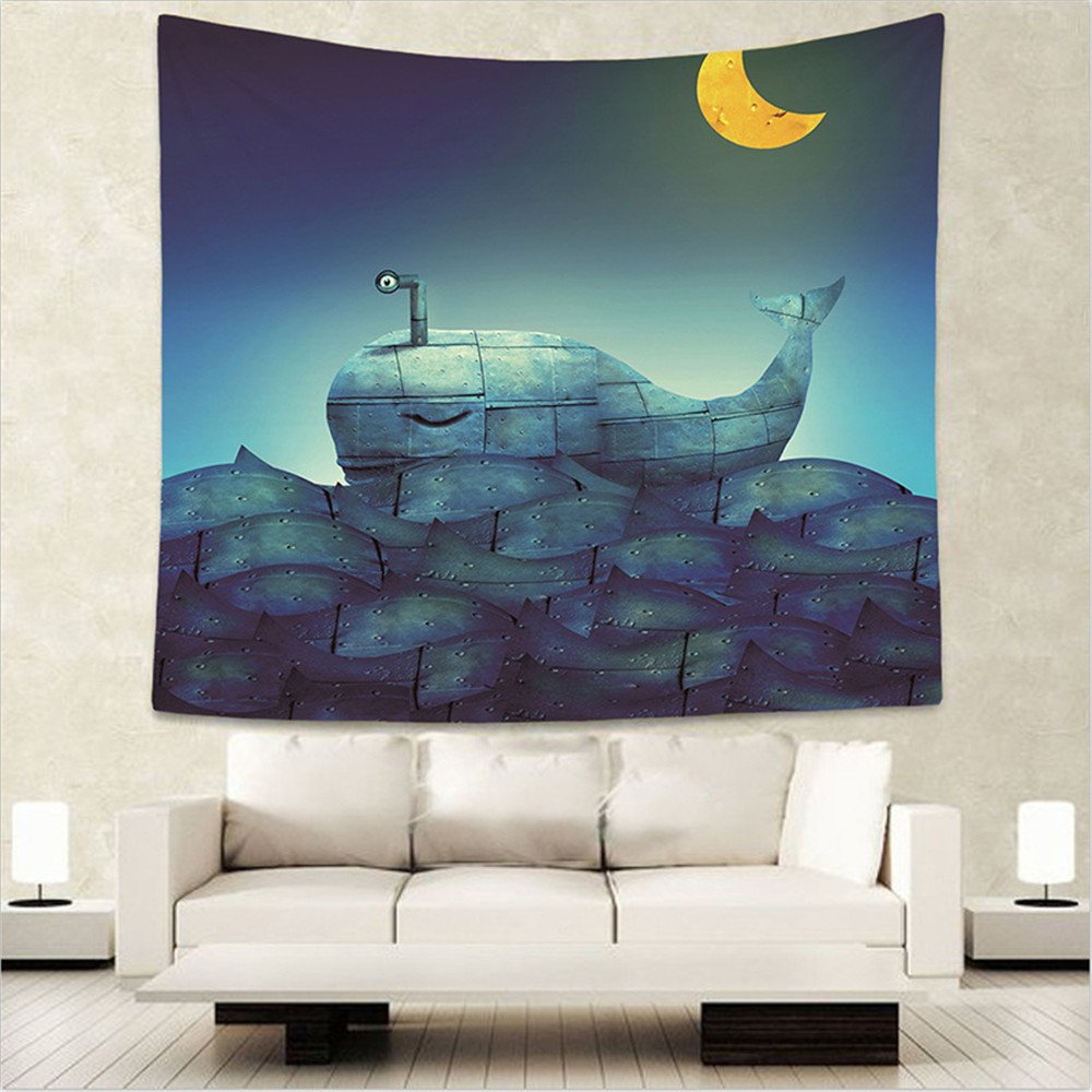 Wall Hanging Decorativo Tapestry Hippie Tapestry Copriletto Matrimoniale,Psichedelico,Balena Notte 150x130cm