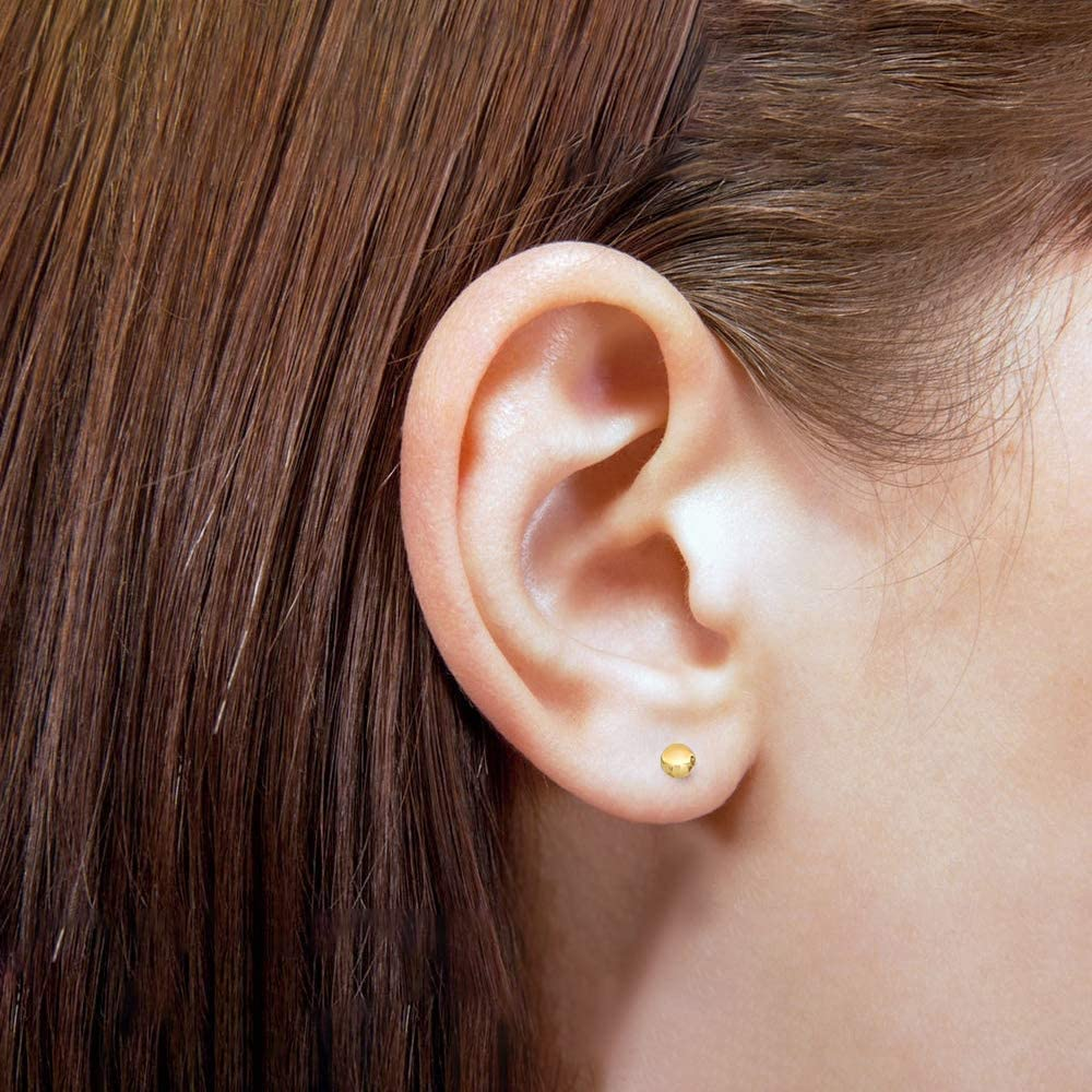 Polished Lightweight Ball Bead Push-back Studs Stud Earrings in 14k Yellow Gold