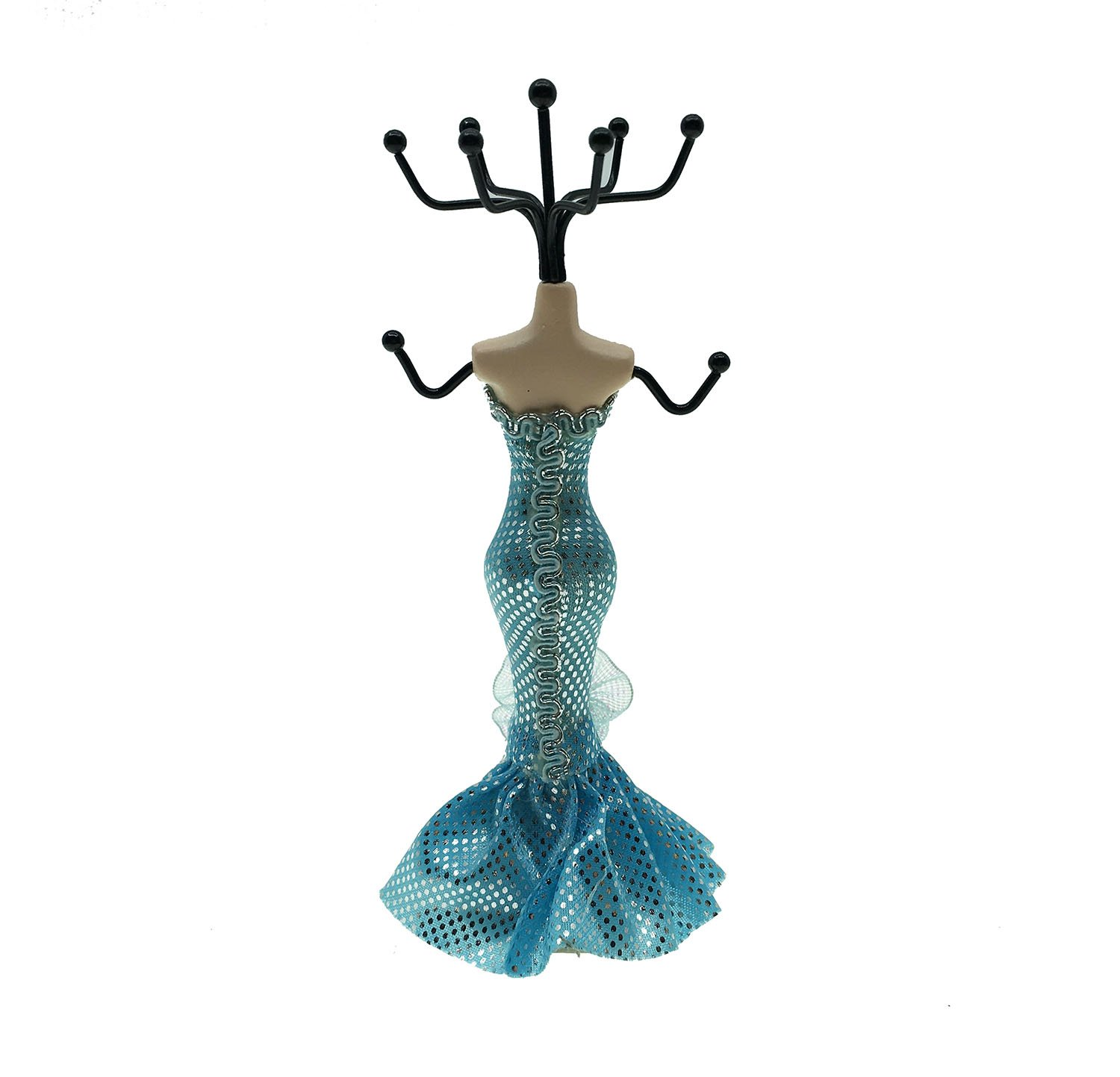 xqing 7'' Model Theme Fashion Mannequin Jewellery Holder Mini Gown Lady Mannequin Hanging Earring Necklace Display-Blue