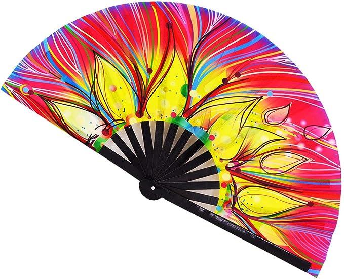 Danse Festival de Musique STHUAHE Grand /éventail Pliable en Bambou Japonais Chinois pour Spectacle f/ête Cadeau Colour13 d/écoration de Maison
