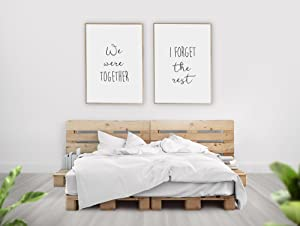 We were Together I Forget The Rest Wall Decor/Set of 2 Prints/Walt Whitman Quote, Farmhouse Bedroom Decor, Romantic Artwork, Minimalist Decor/UNFRAMED (9 x 12 Inches)