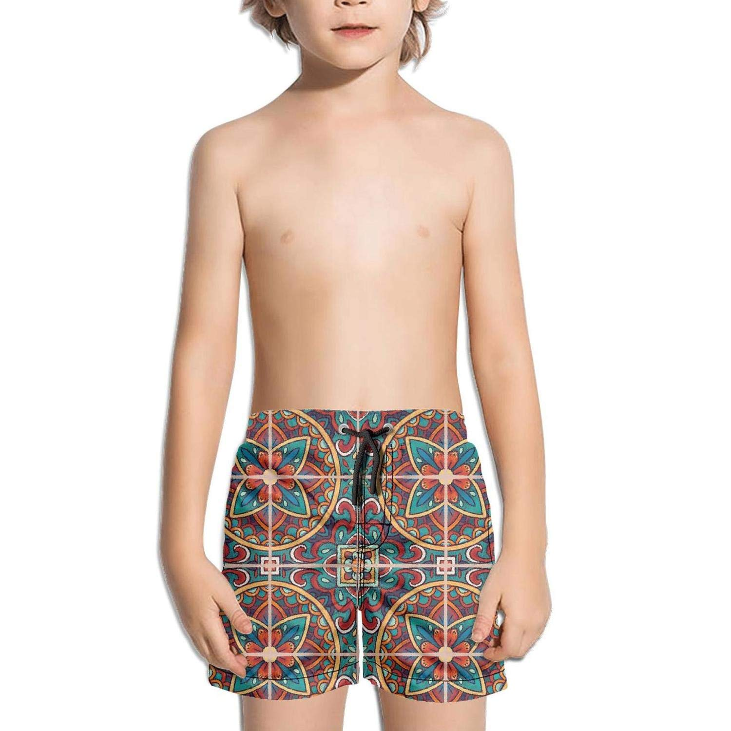 Bohemian Style Colored Tiles Volley Sporty Quick Dry Swimming Trunks Shorts