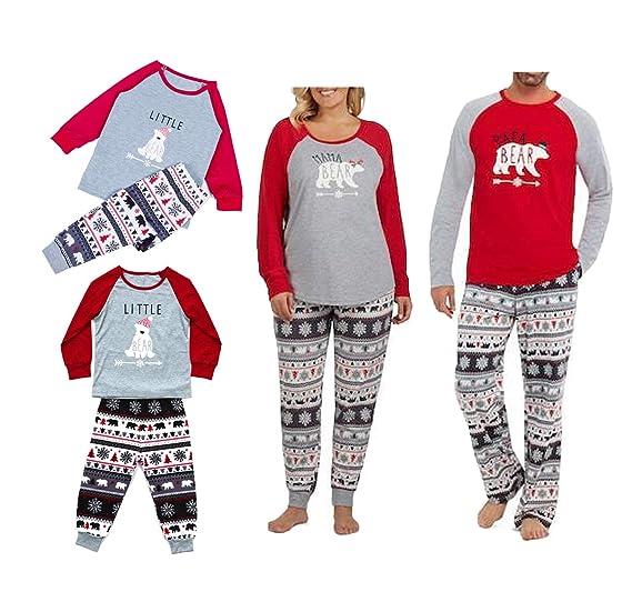 5533525897 Christmas Pajamas for Family Long Sleeve Matching Polar Bear Pajama PJ Sets  (3-4T