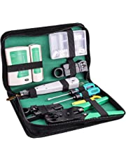 Kuman Network Cable Tester, RJ45 RJ11 Cat5 Wire Crimper Stripper with 10pcs Crystal Connctors Tool Set P9100 (70 in 1 Screwdriver)