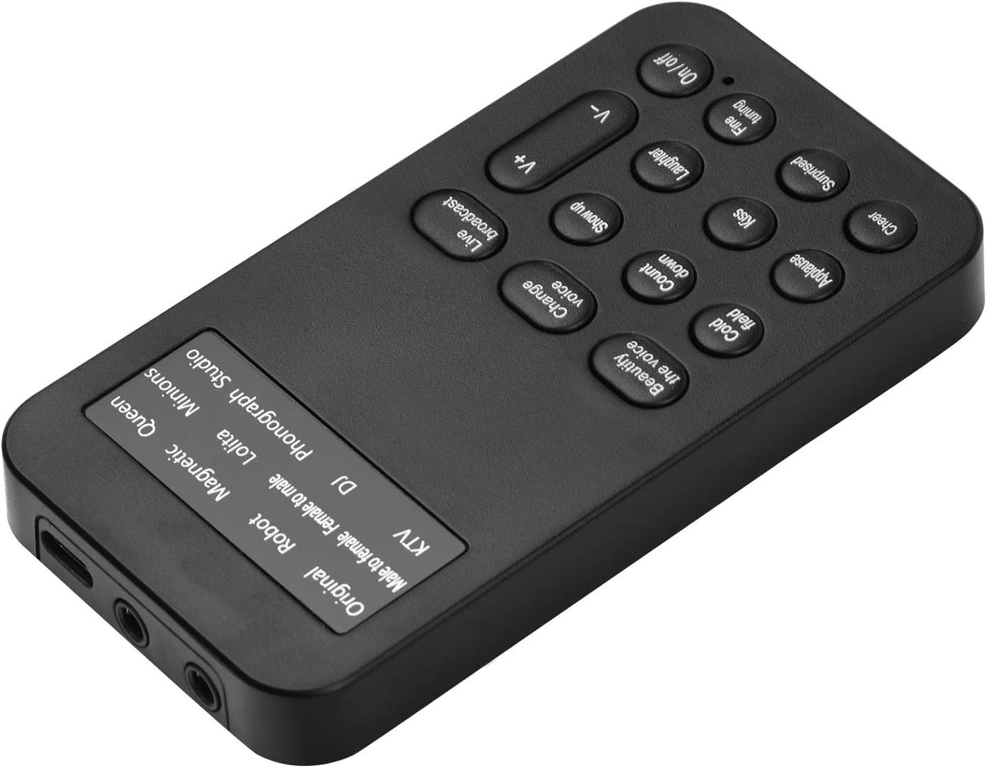 Muslady Mini Dispositivo Cambiador de Voz M/áquina de Efectos de Sonido Micr/ófono Interfaz de 3,5 mm para Transmisi/ón en Vivo Chat en L/ínea Juego de Canto para Tel/éfono Inteligente Tableta