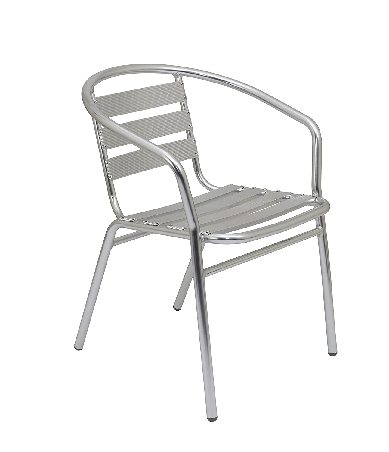 Office Hippo Cafe Bistro Restaurant Stacking Armchair, Indoor or Outdoor Use - Aluminium TC Group CH0653