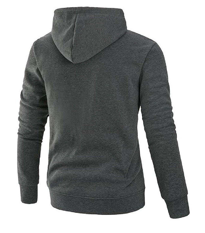 Shining4U Fashion Men Solid Slim Fit Simple Basic Wild Hoodies Sweater Pullover Dark GreyUS Medium=China Large