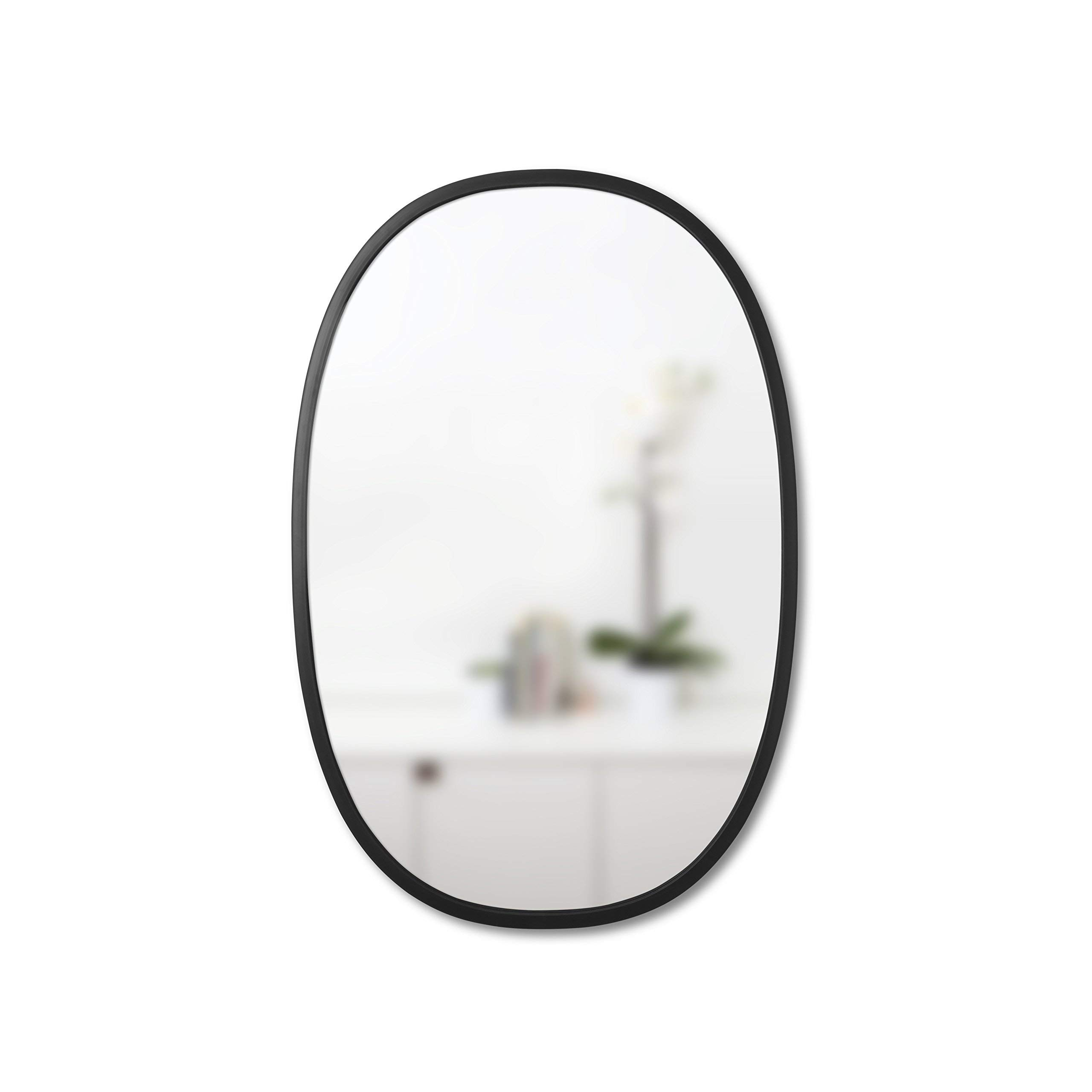 """Umbra Hub 24 x 36"""" Oval Wall Mirror With Rubber Frame, Modern Room Decor for Entryways, Washrooms, Living Rooms and More, Black"""