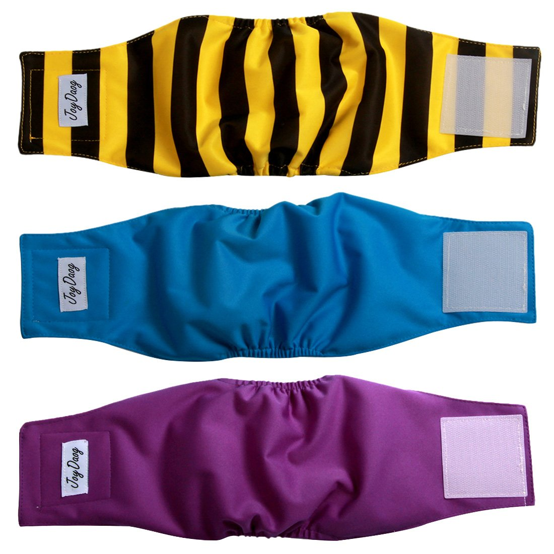 JoyDaog Belly Bands for Small Dog Diapers Male Reusable Puppy Wrap M(Pack of 3)